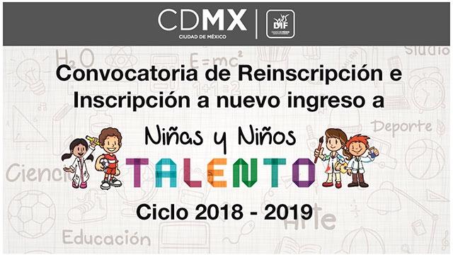 Convocatoria de Reinscripción e Inscripción a nuevo ingreso a Niñas y Niños Talento